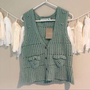 NEW Anthropologie Sparrow Blue Sweater Vest